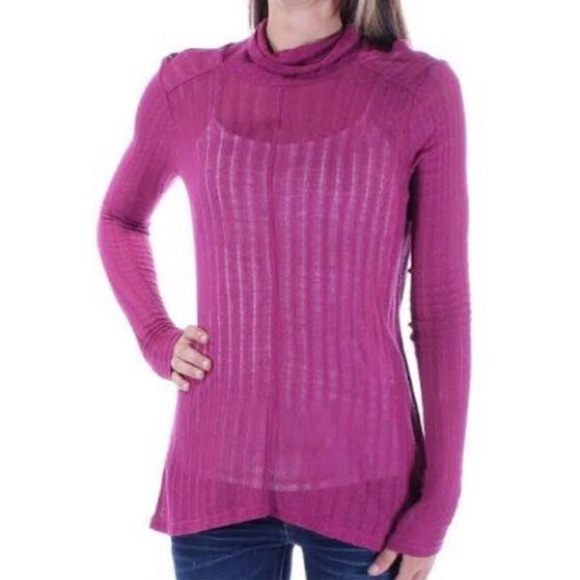 Lucky Brand Tops - NWT Lucky Brand Maroon Cowl Neck Hi Lo Sweater